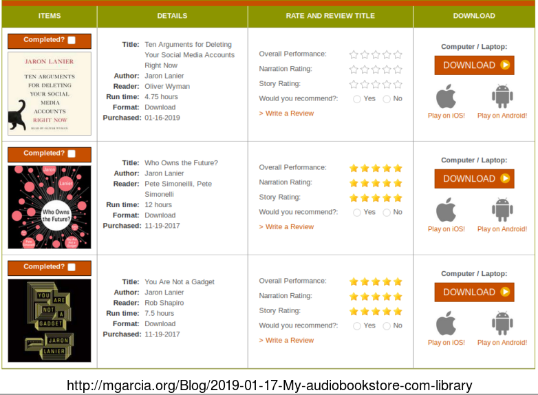 Image: My audiobookstore com library
