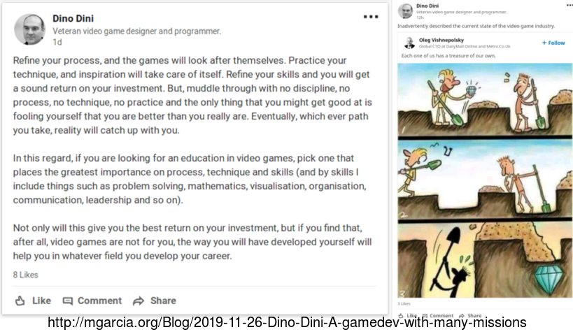 Image: Dino Dini A gamedev with many missions