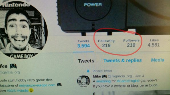 Image: My old twitter account with follow and follower numbers the same.