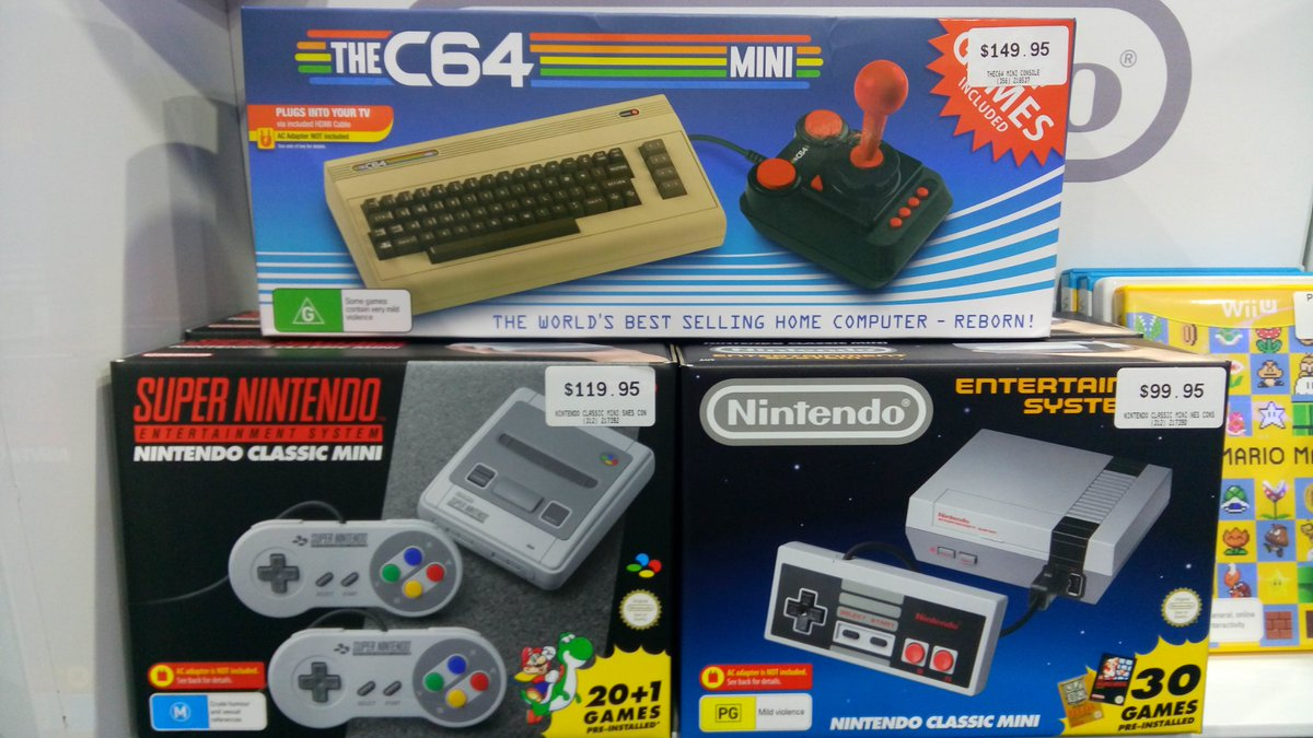 Image:  NES, SNES and C64 plug and play consoles